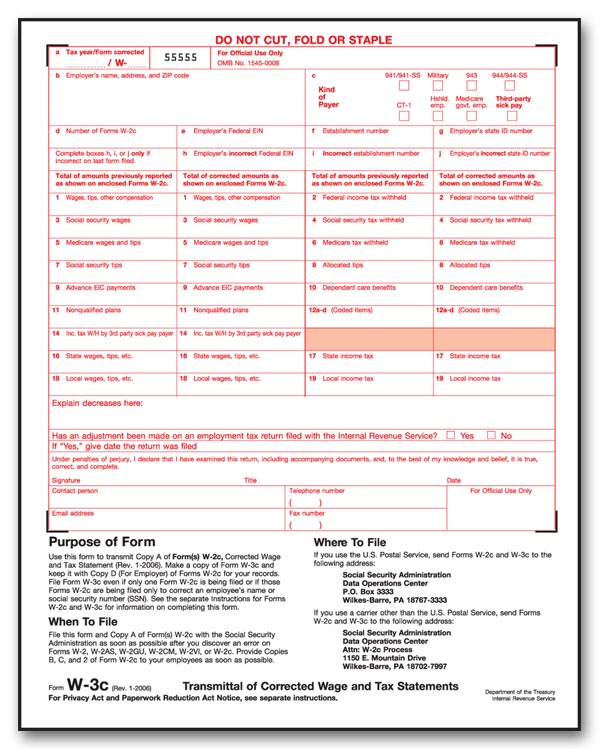 W-3C, Transmittal of Corrected Income, Laser for 2016 ...