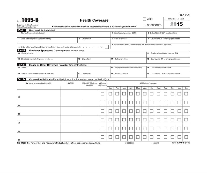1095-B, Health Coverage, IRS Copy For 2016