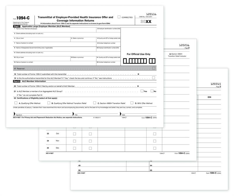 1094-C, IRS Transmittal For 1095-C Forms For 2019